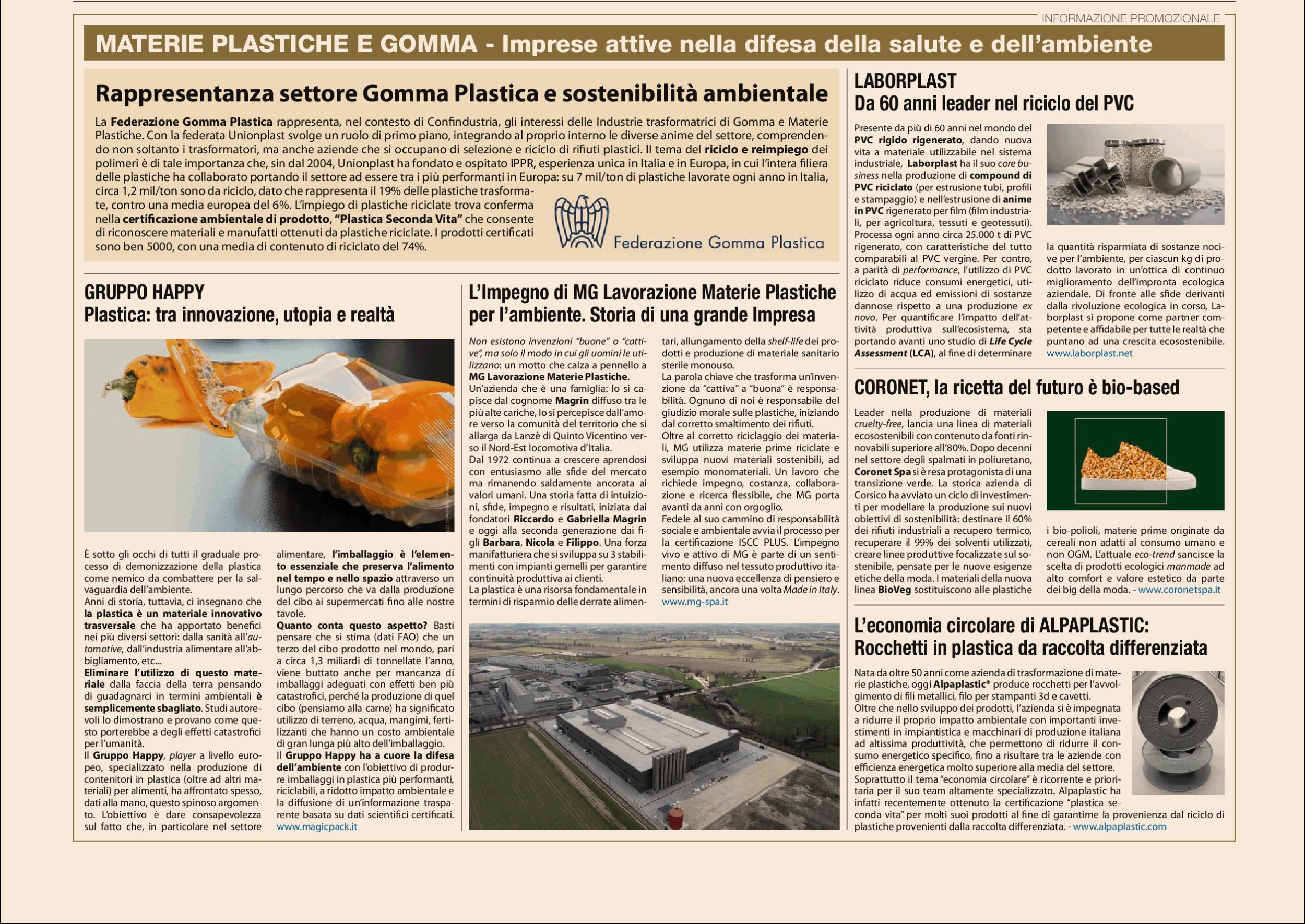 articolo di giornale su Coronet e Bioveg